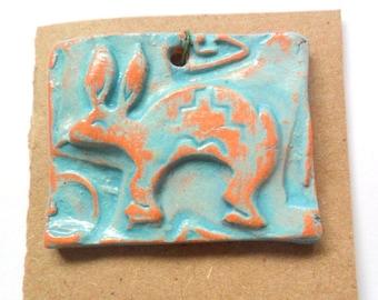 Distressed Turquoise Glazed Terra Cotta Southwest Rabbit Pendant Finding