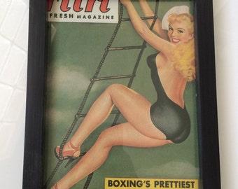 Vintage Pin Up Girl Print - Blonde Sailor Navy Burlesque