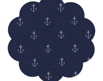 Anchors navy fabric. Out to sea print fabric. Nautical fabric. Navy fabric with anchors. Apparel/quilt cotton fabric. DIY sewing navy fabric