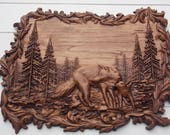 Animal Wood Carving, Wolf...