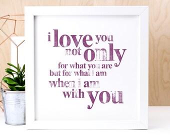 I Love You Print; Love Gift; Love Quote; I Love You Gift; Valentine Gift; AP001