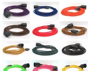 Pendant light - Pre-wired extension cord for pendant lamp - E27 bakelite socket - Color textile cable - 2P without grounded plug - Ref BL1