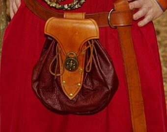Large Renaissance Leather Belt Bag Brown on Brown