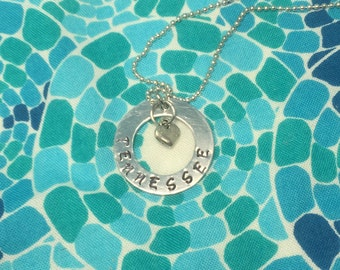 Tennessee Hand stamped necklace with charm