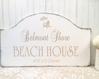 BEACH HOUSE wood sign, personalized family est date, shore house sign, custom cottage sign, lake house sign, beach cottage sign