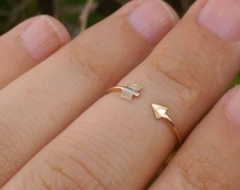 knuckle gold ring, gold arrow ring, knuckle arrow ring, thin knuckle ring, Thin gold ring, adjustable gold ring, Arrow stacking ring
