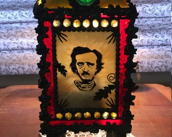 """Huge 16"""" Tall Stained Glass Edgar Allan Poe Hand Painted Candle Holder w Raven's Claws"""