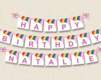 Personalized Rainbow Birthday Party Banner – DIY Printable (Digital File)