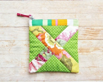 Zipper pouch cosmetic bag mobile cell phone case wallet green pink tangerine roses X patchwork quilted wadded Mother's Day Valentine's gift