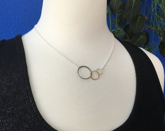 Linked circles infinity necklace in sterling silver, entwined rings, sterling silver ring, interlocking circles, three circles, mixed metal