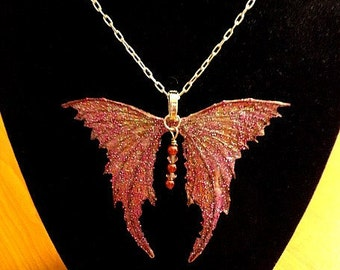 "Fairy Wings Jewelry-Ooak-Necklace with 18""  Silver Chain (Made to Order by Request)"
