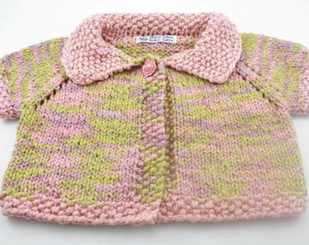 6 - 12 month size organic cotton handknit baby sweater pink and green short sleeves