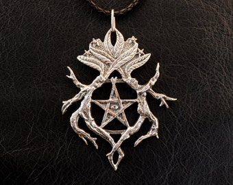 Mystic Mandrake pendant, 925 sterling silver, witchcraft, witch, pentacle, pentagram, Hekate, Nightshade, poison, Hecate, magic, corvidana