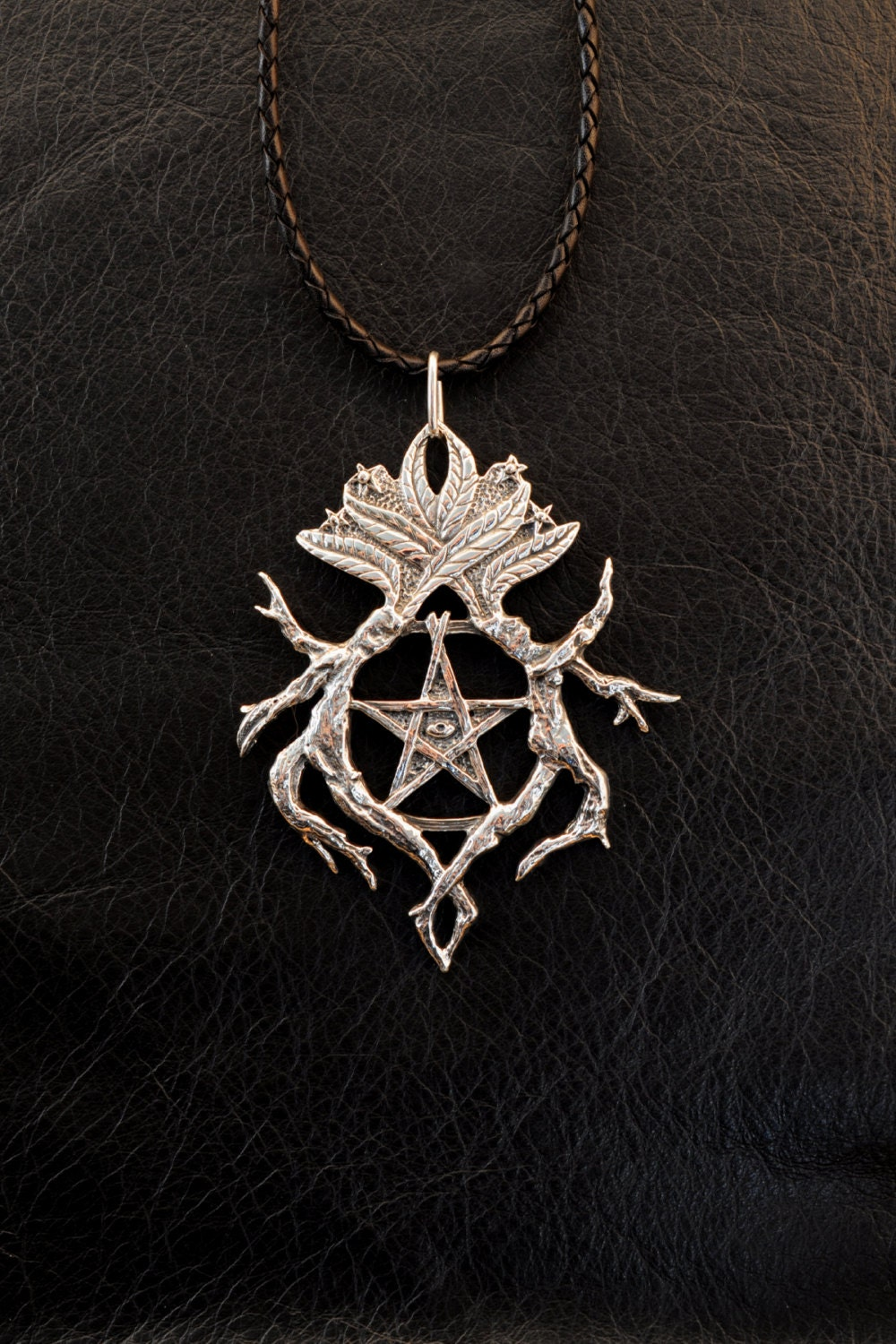wiccan pendant metaphysical hecate pentacle necklace of jewelry witchcraft pagan hematite pin