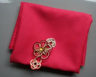 Furoshiki Japanese Fabric red and pink with decoration Flower Mizuhiki