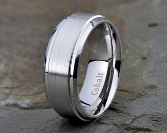 Cobalt Wedding Band, Mens Wedding Band, Mens Ring, Custom Made, Rings, Bands, Beveled Edge, 8mm, Handmade, Mans, Anniversary