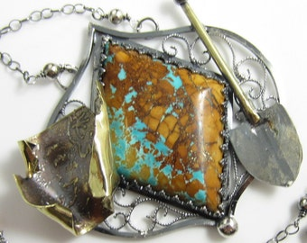 Treasure Hunter Necklace - Boulder Turquoise in Sterling SIlver with Brass Map and Shovel