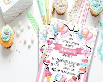 Digital Sweet Shop Birthday Invitation Printable File