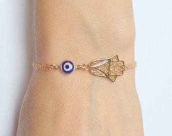 Hamsa evil eye bracelet  Evil eye bracelet Gold hamsa hand Hand of Fatima Gold evil eye jewelry Protection bracelet Dainty gold bracele