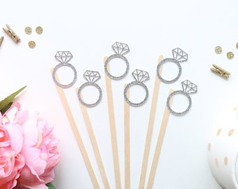 Diamond Ring Drink Stir Sticks | Engagement Party | Bridal Shower | Wedding Decorations | Bride To Be | Just Married | Swizzle Sticks