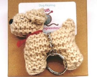 Knitted dog keyring,  puppy keyring,gift for dog lover, dog keychain, dog gift, birthday gift for dog lover, fathers day gift