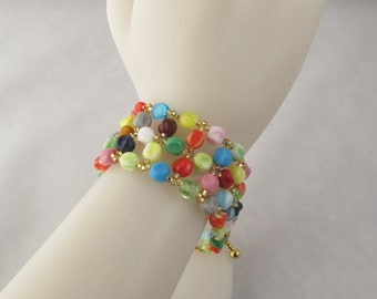 Rainbow Glass Bead Bracelet with Toggle Clasp