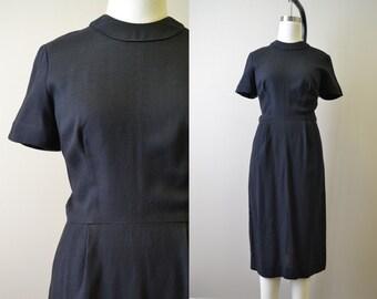 1940s Jerry Gilden Black Linen Dress