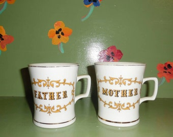 Pair Mother Father Gold China Coffee Tea Cup Mug Home Office Kitchen Decor Mid Century Modern Shabby Chic Vintage