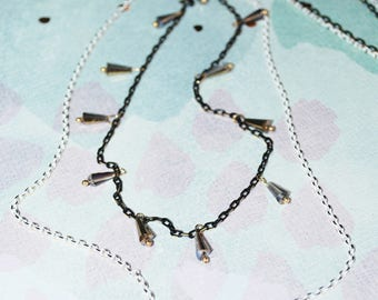 Mila Layered Chain and Crystal Necklace