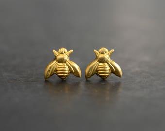 Gold Bee Earrings, Tiny Bumblebee Stud Earrings