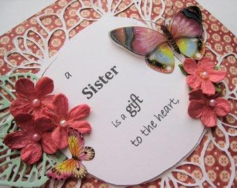 Sister Birthday - embellished card - handmade card