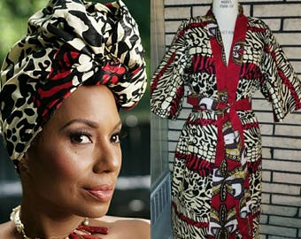 African Clothing  for Women,  African Clothing, VA Z I African Print Kimono  made from African Dutch Wax  (Head Wrap sold out)