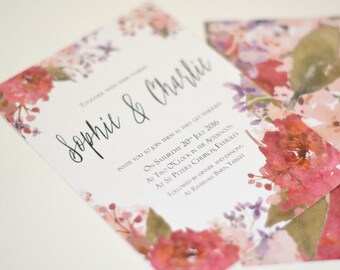 Pretty Floral Summer Wedding Invitation bundle