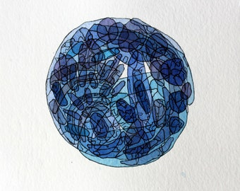 Blue Watercolor and Ink Painting