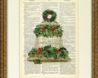 Dictionary Page Print - CHRISTMAS BELL with HOLLY - a lovely old illustration on an antique dictionary page- charming Christmas wall decor