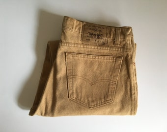 Vintage Men's 80's Levi's 550's Naturals Jeans, Mustard Yellow, Relaxed Fit, Colored Denim (W35 x L30)