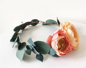 eucalyptus crown, greenery halo, bridal crown, flower  crown, flower girl crown, headwreath, floral crown, ranunculus crown, coral crown
