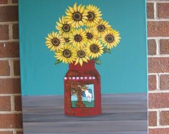 Sunflower Decor Farmhouse Decor Farmhouse Kitchen Decor  Sunflower Art Rusty Milk Pail Milk Can Original Painting