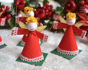 Vintage Christmas Ornaments - Red Dress Spun Cotton Angels - 5