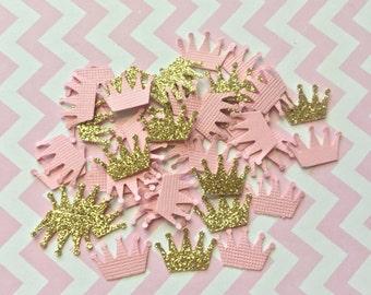 Princess confetti , Princess crown confetti , Pink and gold confetti, Princess baby shower confetti , Princess birthday confetti