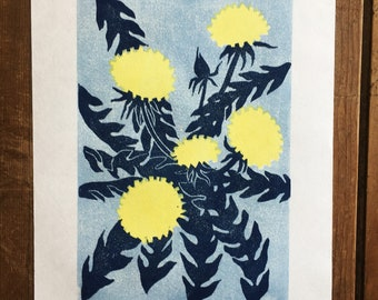 Dandelion woodcut, Japanese woodblock print, flowers, yellow, blue, original art print, wall art, printmaking, garden, block print