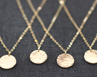 gold necklace, gold disc necklace, sterling silver, hammered coin, hammered pendant, round circle, pounded texture, shiny metal, N30