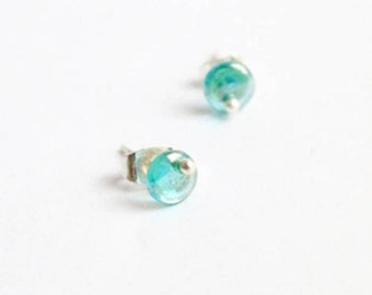 tiny studs blue green earrings minimal jewelry daughter gift mother unisex miniature studs blue-green studs favor gifts boxed earrings L51
