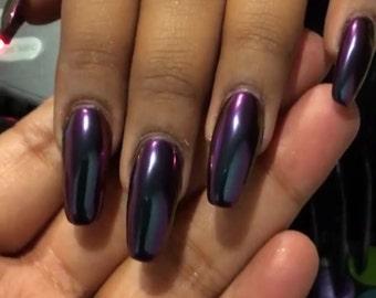 MIRROR Nail CHROME Powder Purple/Blue Chameleon  for Nail Polish, Gel Nails, Nail art
