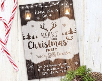 Christmas Party Invitation, Rustic Christmas Invite, mason jar invitation, deer, christmas party, christmas invitation, printable invite