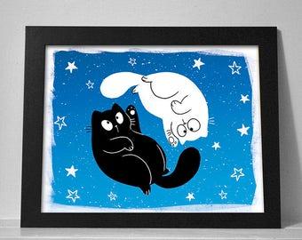 Ying Yang Cat Print - 8.5x11