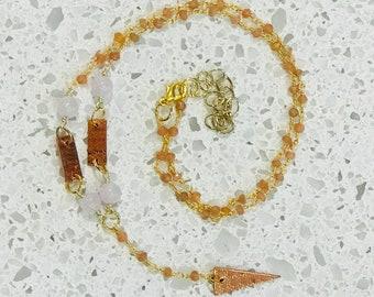 Rose Quartz and Copper Beaded Necklace