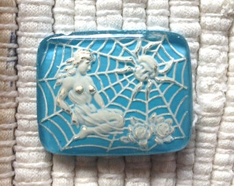 Vintage German Reverse Intaglio Glass Cabochon - Blue and White Lady and Spider - 28 x 22 mm