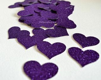 Glitter Confetti - Dark Purple Glitter Confetti Hearts - Glitter Wedding Decor or Bridal Shower Hearts - Table Scatter  Confetti 50 Pcs
