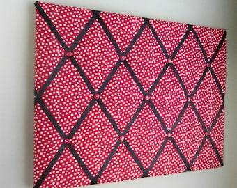 "Red Polka Dot 16""x20"" Memory Board, Bow Board, Bow Holder, Photograph Holder, Business Card Holder, Ribbon Board, Vision Board"